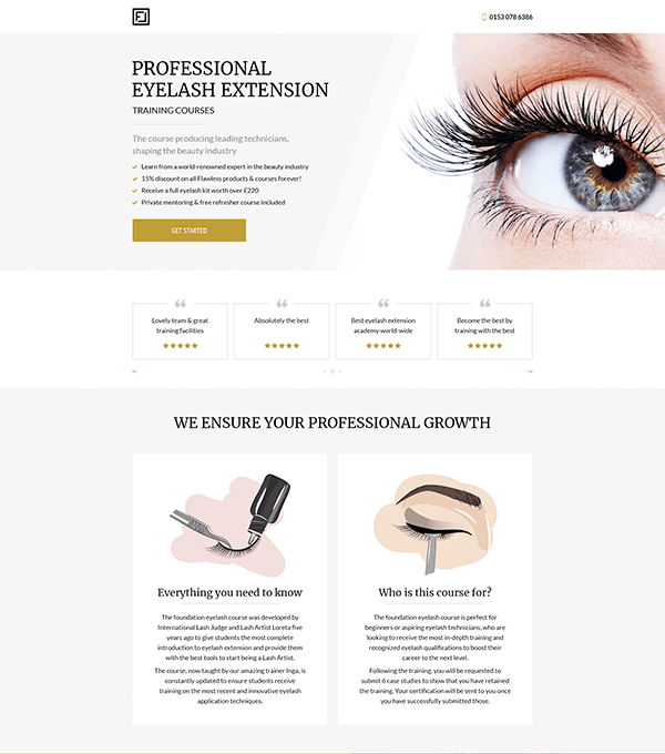 Eyelash Extension Courses Webpage