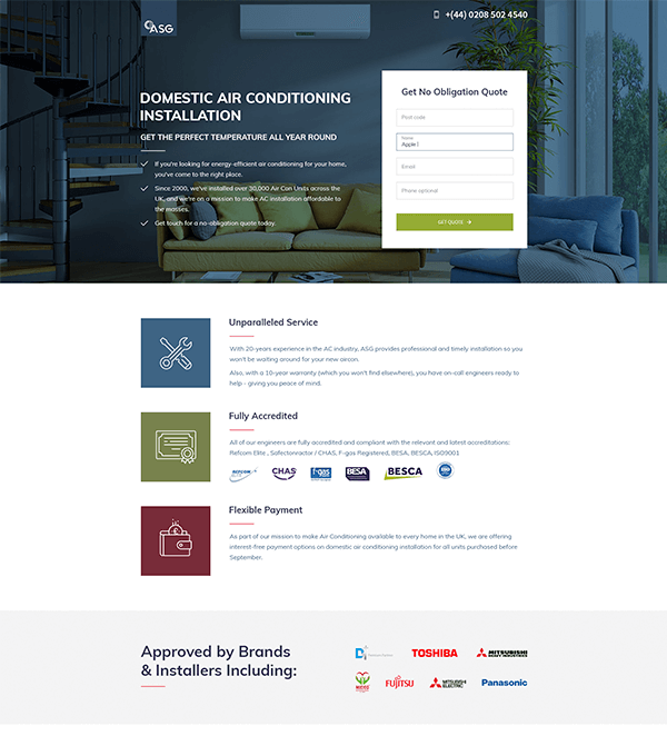 Landing page for ASG